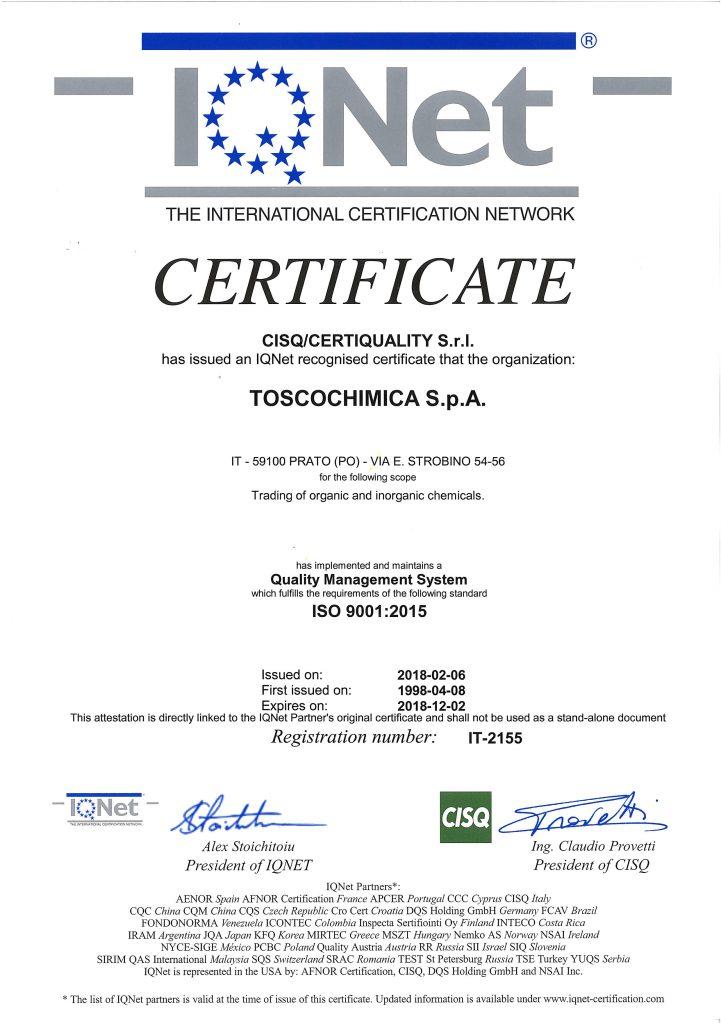 Certificazioni gestione qualità Toscochimica
