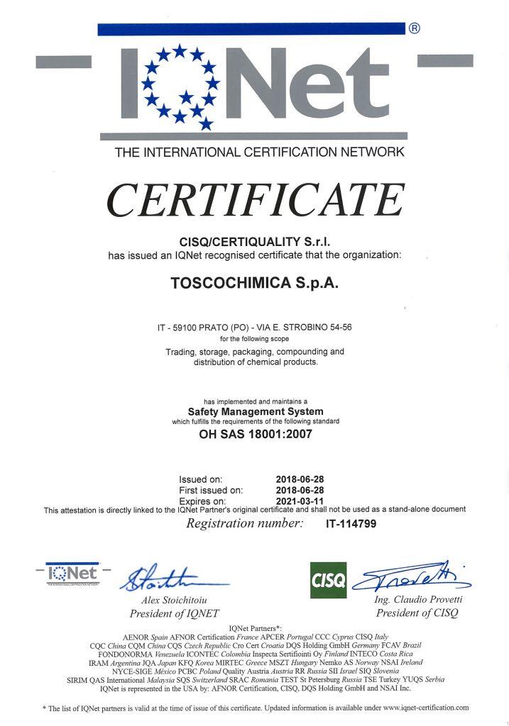 Certificazione Sistema di Gestione di Sicurezza Toscochimica