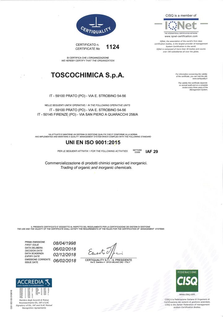 Certificazioni qualità Toscochimica