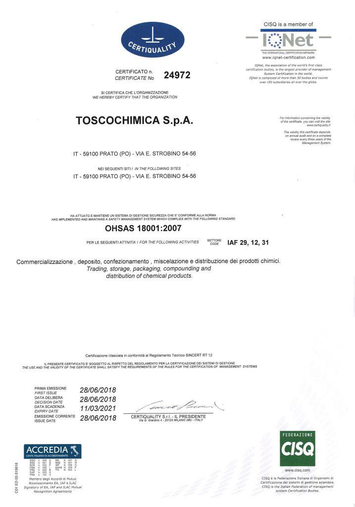 Certificazioni gestione sicurezza Toscochimica