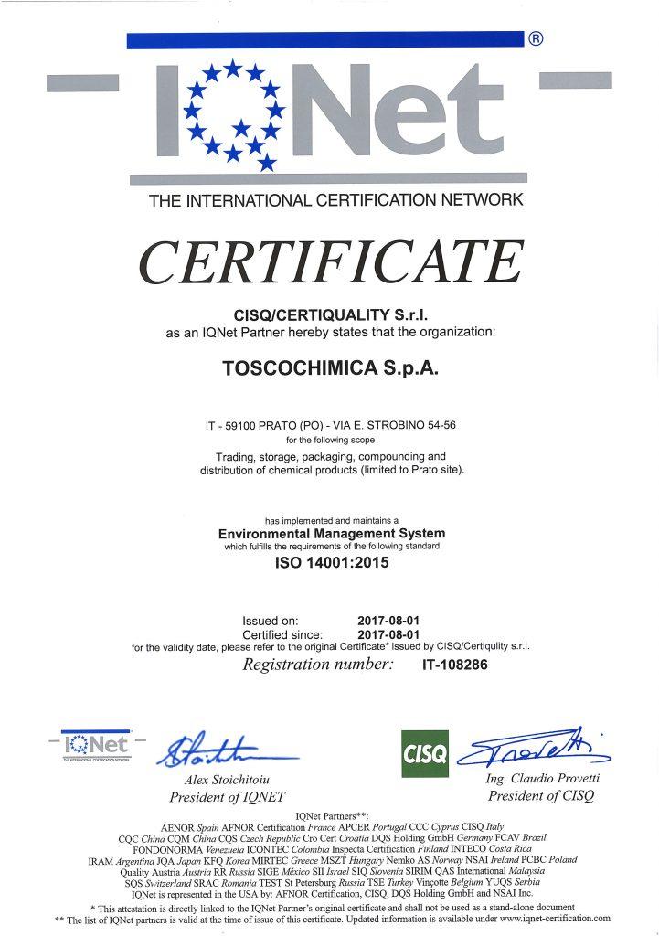 Certificazioni sistema gestione ambientale Toscochimica