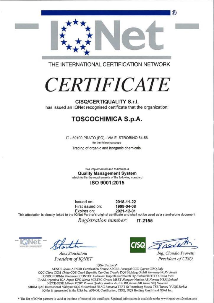 Certificazione del Sistema di gestione Qualità Toscochimica