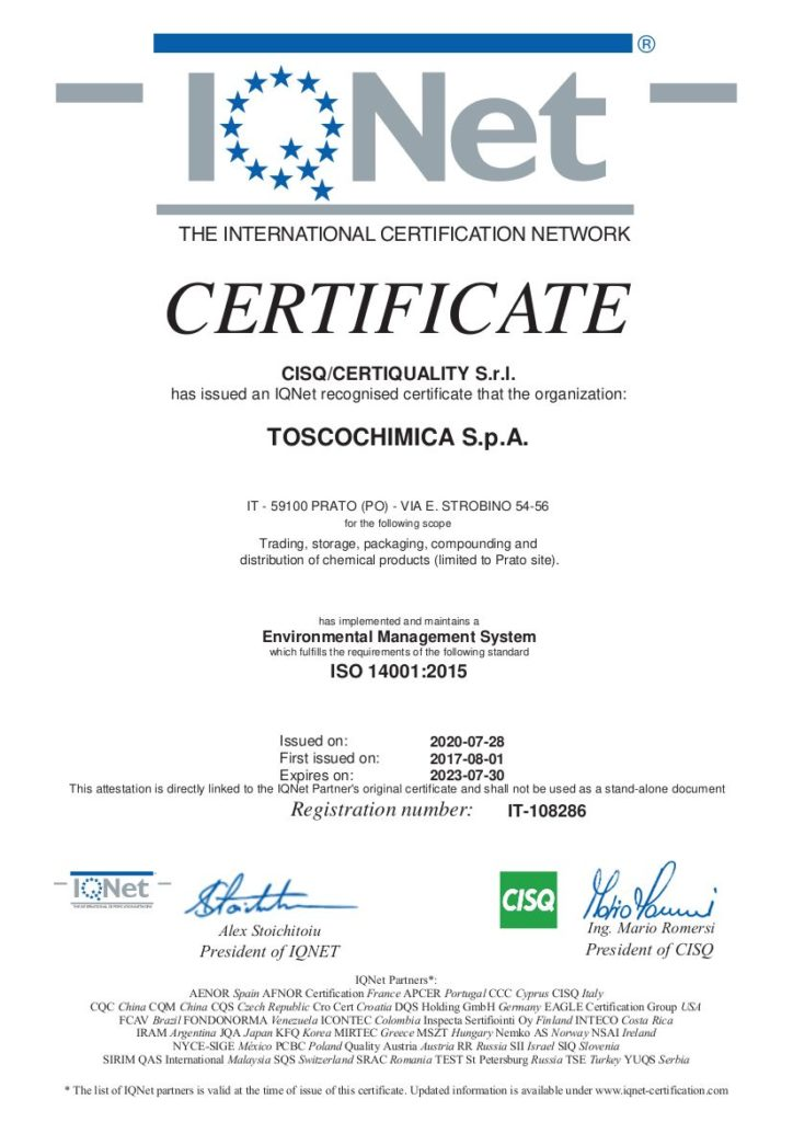 Certificazione sistema gestione ambientale Toscochimica