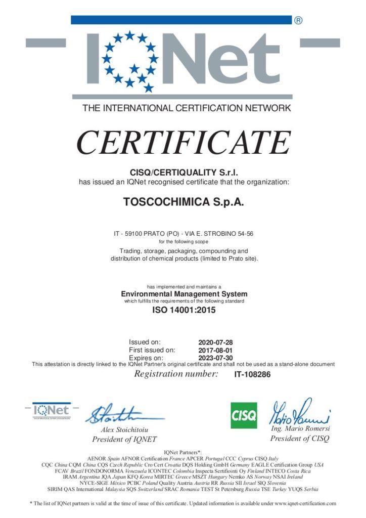 Certificazione sistema gestione ambientale Toscochimica